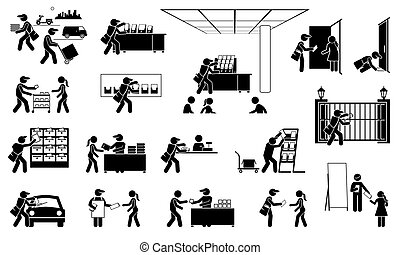 verschieden, verteilen, flieger, agent, flugblatt, orte, anzeige, leaflets, icons., broschüren, broschüren