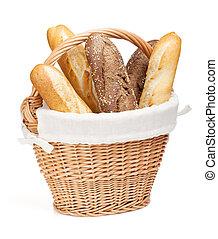 verschieden, von, franzoesisch, baguette, korb