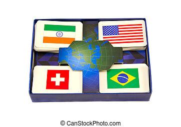 verschieden, welt, land, flaggen, karten, kasten, freigestellt