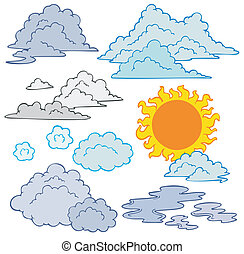 verschieden, wolkenhimmel, sonne
