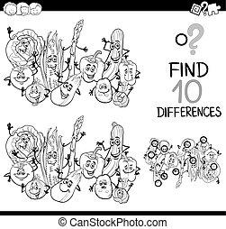 verschil, spel, kleuren, pagina