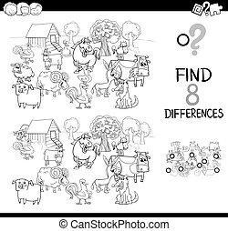 verschillen, met, boerderij, animas, kleur, boek