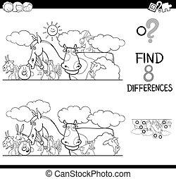 verschillen, met, boerderijdieren, kleur, boek