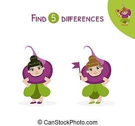 verschillen, onderwijs, geitjes, illustratie, spel, vector, vinden