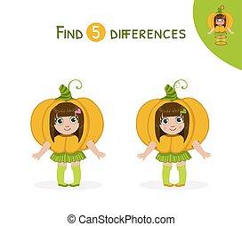 verschillen, schattig, onderwijs, illustratie, spel, vector, kostuum, meisje, geitjes, vinden, pompoen
