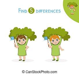 verschillen, schattig, onderwijs, illustratie, vinden, spel, vector, kostuum, meisje, geitjes, broccoli
