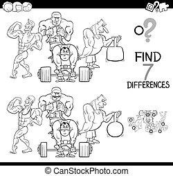 verschillen, spel, met, atleten, kleur, boek