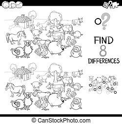 verschillen, spel, met, boer dier, kleur, boek