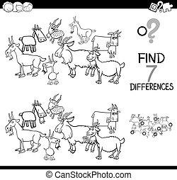 verschillen, spel, met, boerderij, geiten, kleurend boek