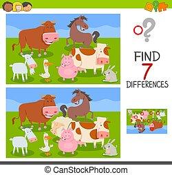 verschillen, spel, met, boerderijdieren, groep