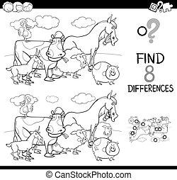 verschillen, spel, met, boerderijdieren, kleur, boek