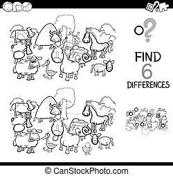 verschillen, spel, met, boerderijdieren, kleurend boek