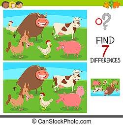 verschillen, spel, met, boerderijdieren