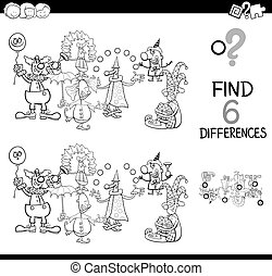 verschillen, spel, met, clowns, kleurend boek