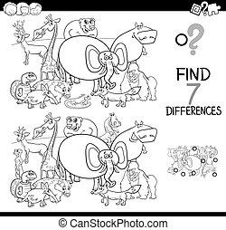 verschillen, spel, met, dieren, kleurend boek