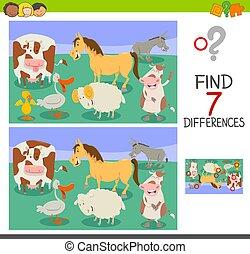 verschillen, spel, met, gekke , boerderijdieren