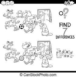verschillen, spel, met, voetbal, de kleur van dieren, boek