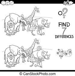 verschillen, spel, met, wilde dieren, kleur, boek