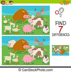 verschillen, spel, voor, geitjes, met, boerderijdieren