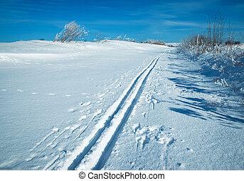 verschneiter , ebene, mit, a, fahren ski spur