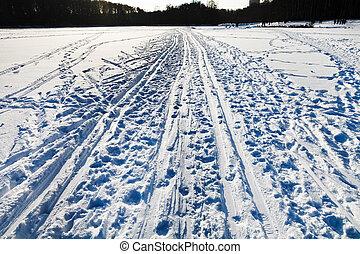 verschneiter , feld, mit, ski, läufe