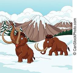 verschneiter , gehen, wollig, karikatur, feld, durch, mammut