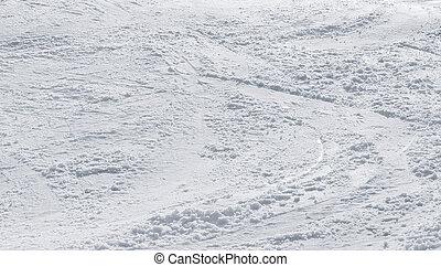 verschneiter , hintergrund, mit, ski, spuren