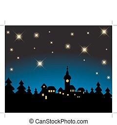 verschneiter , -, karte, nacht, weihnachten, landschaftsbild