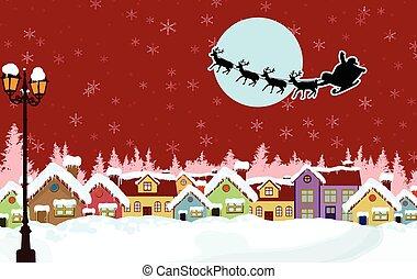 verschneiter , land, santa, nacht, schlitten, ländlich, weihnachten