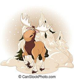 verschneiter , wald, gegen, elch