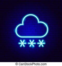 verschneiter , zeichen, schneeflocken, wolke, neon