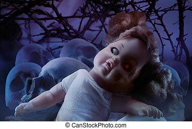 verschrikking, pop, skulls.