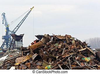verschwendung, eisen, metall, verrostet
