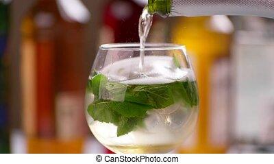 verse, boisson, bouteille, wineglass.