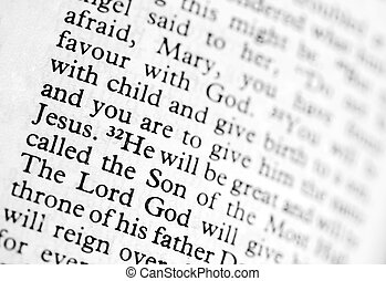 Verse from Luke in the bible - macro view of text from Luke ...