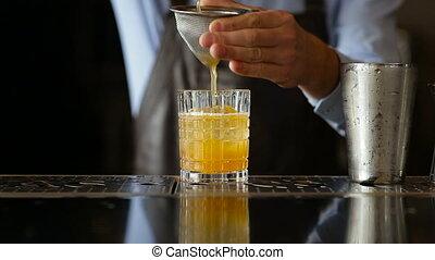 verse, verre, fini, barman, cocktail