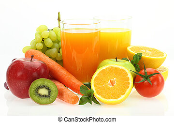 verse vruchten, groentes, en, sap