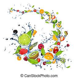 verse vruchten, tred, water, gespetter, vrijstaand, op wit,...
