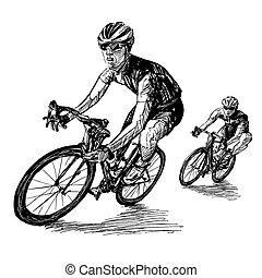 verseny, bicikli, rajz