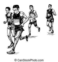 verseny, futás, rajz