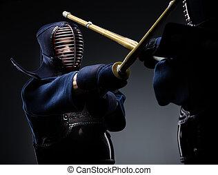 verseny, közül, két, kendo, harcosok
