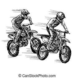 verseny, motokrossz, rajz