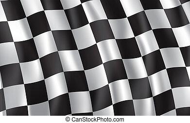 versenyzés, és, gyülekezik, autó, checkered lobogó, vektor