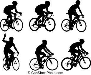 versenyzés, biciklisták, körvonal, gyűjtés