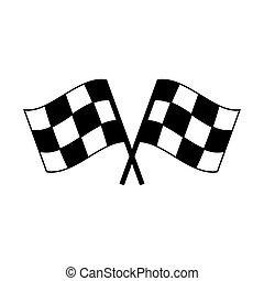 versenyzés, elszigetelt, fehér, autó, lobogó, icon., két, keresztbe tett, befejez, tarka