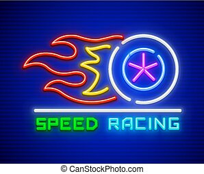 versenyzés, nagy sebességű, vezetés, noha, gördít, és, elbocsát
