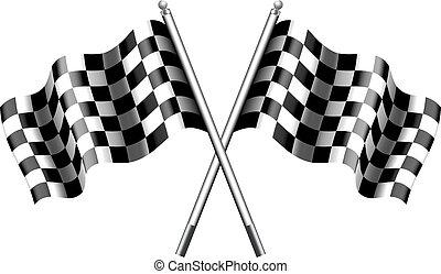 versenyzés, tarka, zászlók, kockás
