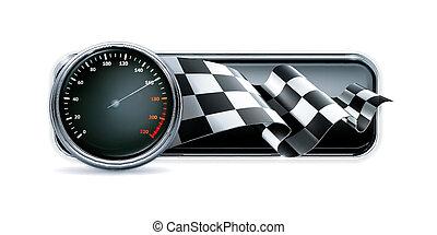versenyzés, transzparens, sebességmérő