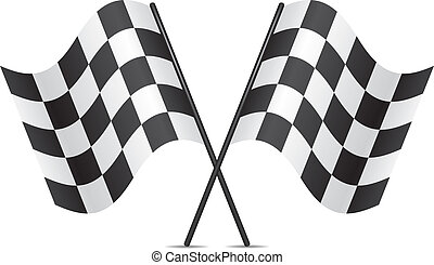 versenyzés, vektor, zászlók