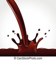 verser, chocolat, chaud, éclaboussure, fond, blanc